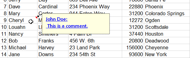 SpreadSheetSetCellComment output