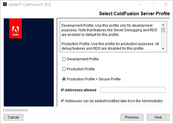 ColdFusion server profiles