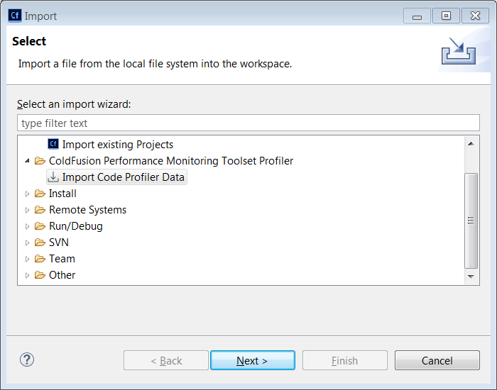 Import code profiler data