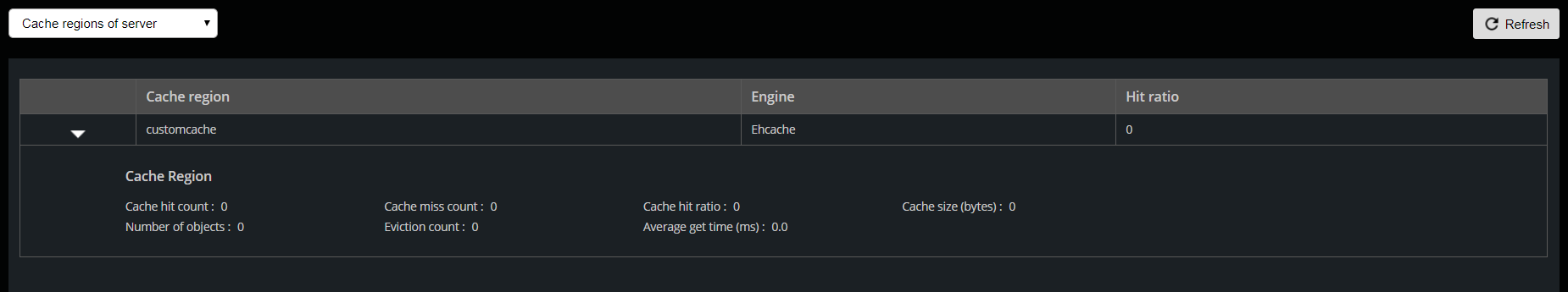 Cache regions of server