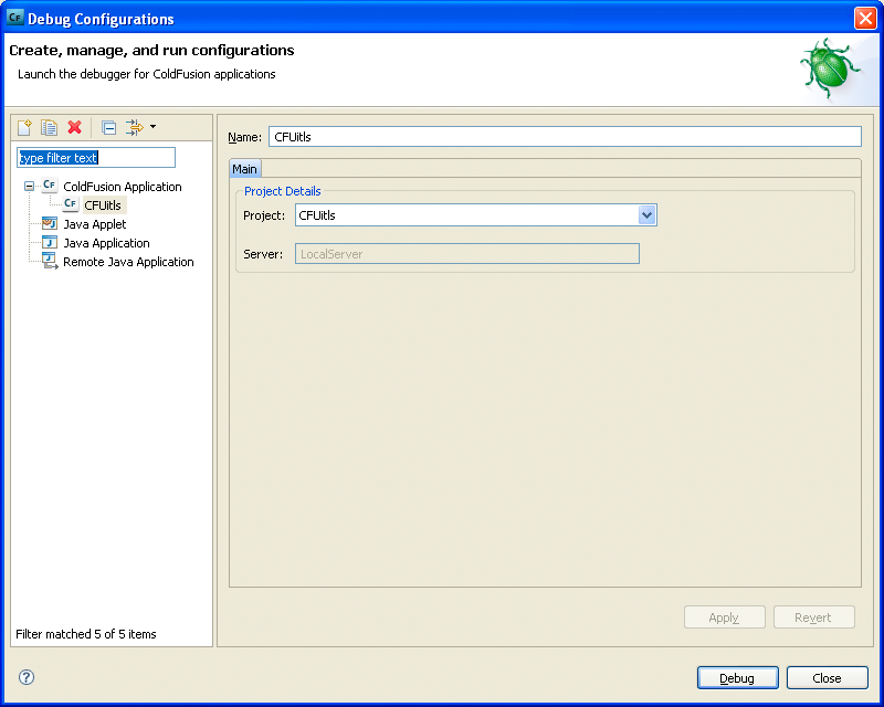 Debug applications in ColdFusion Builder