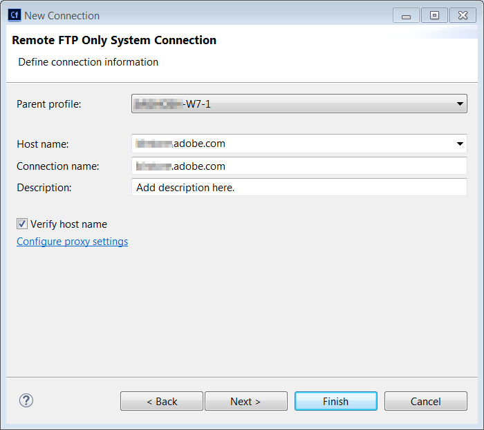 Create FTP connection