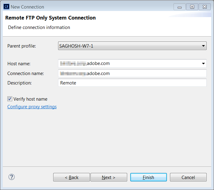 Remote FTP connection