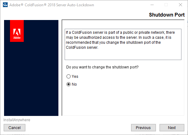 ColdFusion shutdown port