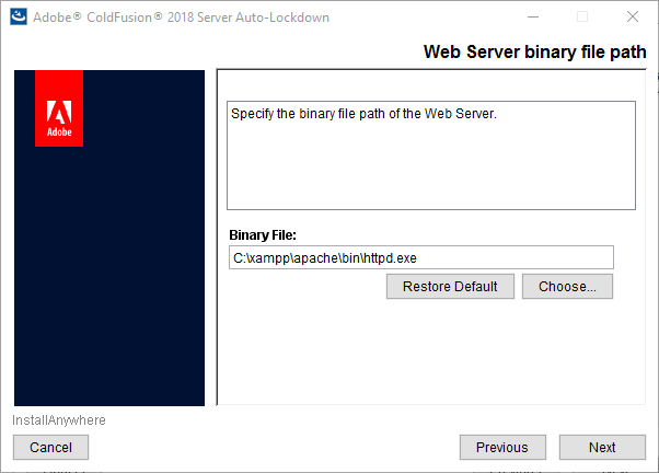 Web server binary file path