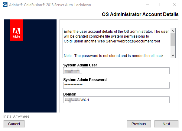 OS Administrator account details