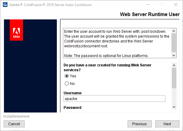 Web server runtime user