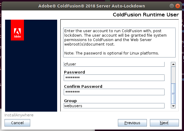 ColdFusion runtime user