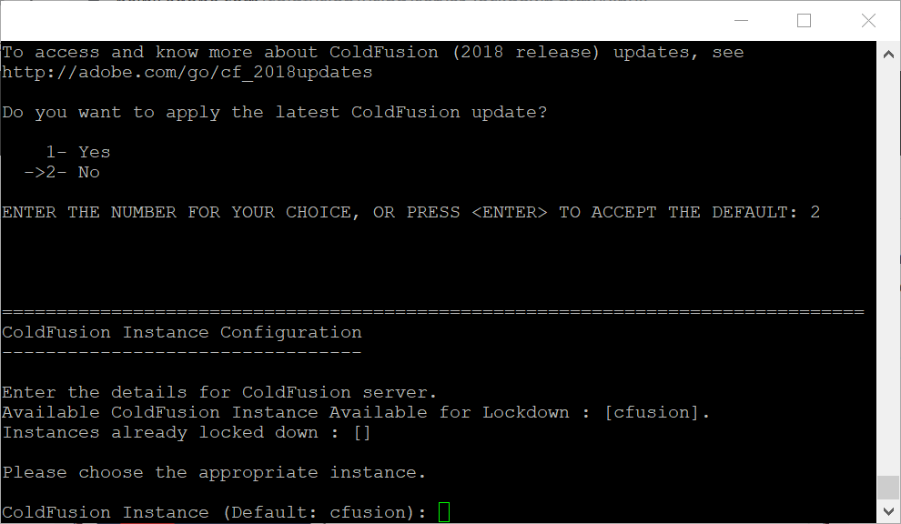 ColdFusion instance