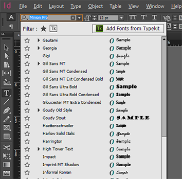 Add fonts to your desktop from typekit typekit fonts in indesign ccuart Choice Image