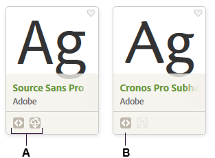 Availability indicated on font cards