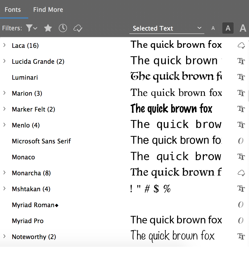 Font list in Creative Cloud app