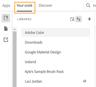 Libraries panel in the Creative Cloud desktop app