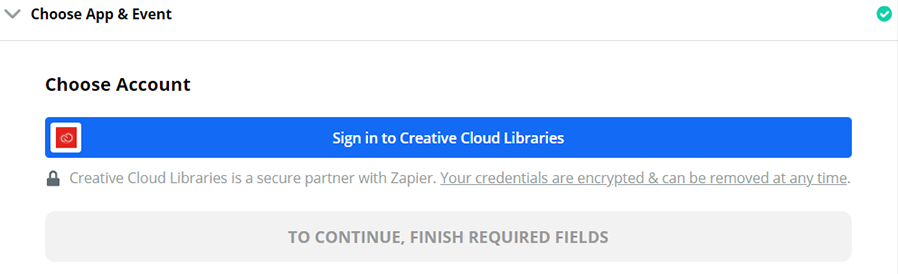 Sign in to your app account from Zapier