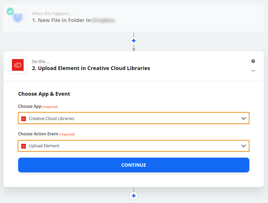 Choose Creative Cloud Libraries and an action event