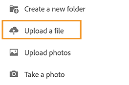Upload files and photos