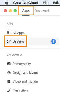 Click Updates in the left pane of Apps tab