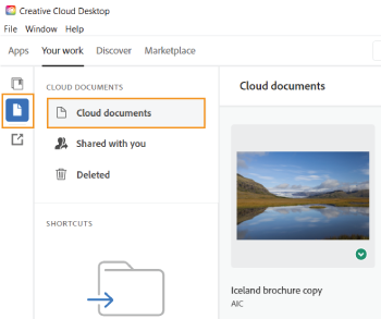 Select your cloud document in the Creative Cloud desktop app