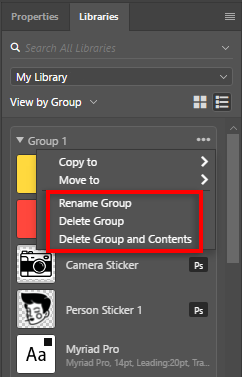 Rename group, delete Group, or delete group and contents