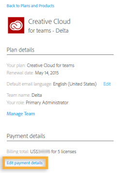 Creative Cloud for Teams membership