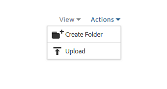 Actions menu on the Creative Cloud Assets page
