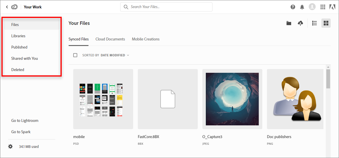 Browse, search, sync, and manage Adobe Creative Cloud assets