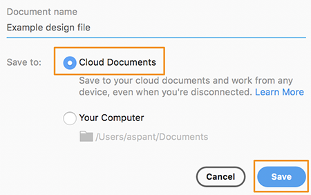 Save as cloud document in Adobe XD