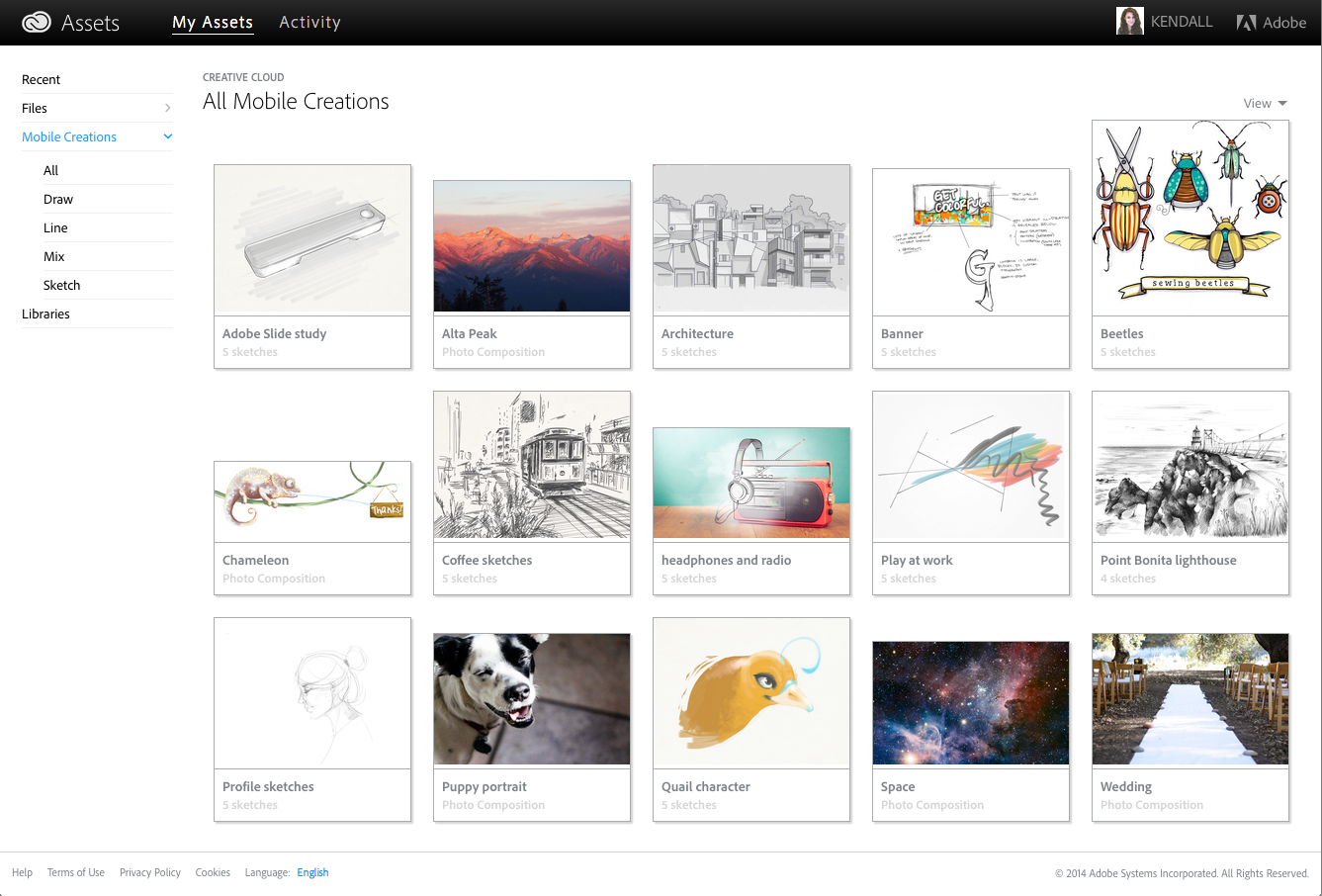 Preview the mobile creations synced to your Creative Cloud account
