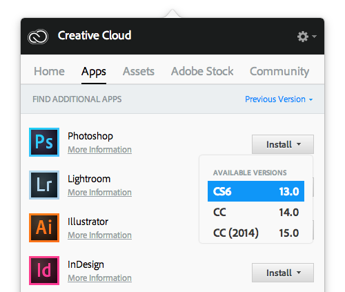 Install previous versions of Creative Cloud apps