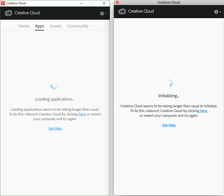 Creative Cloud desktop app takes longer than usual to initialize or open