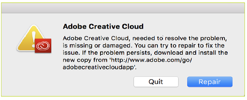 Adobe Creative Cloud Needed To Resolve This Problem Is Missing Or Damaged
