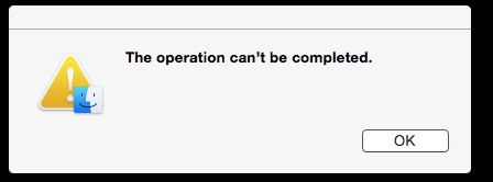 Operation can't be completed error message