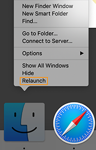 Relaunch Finder from the Dock