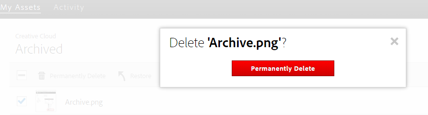 Select permanently delete