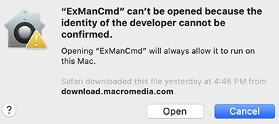 Warning that ExManCmd can't be opened