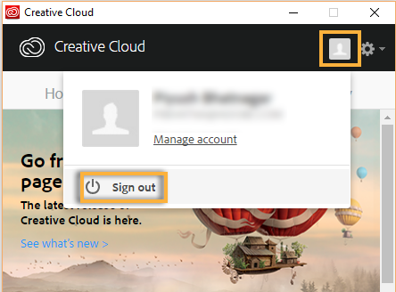 Sign Out from Creative Cloud