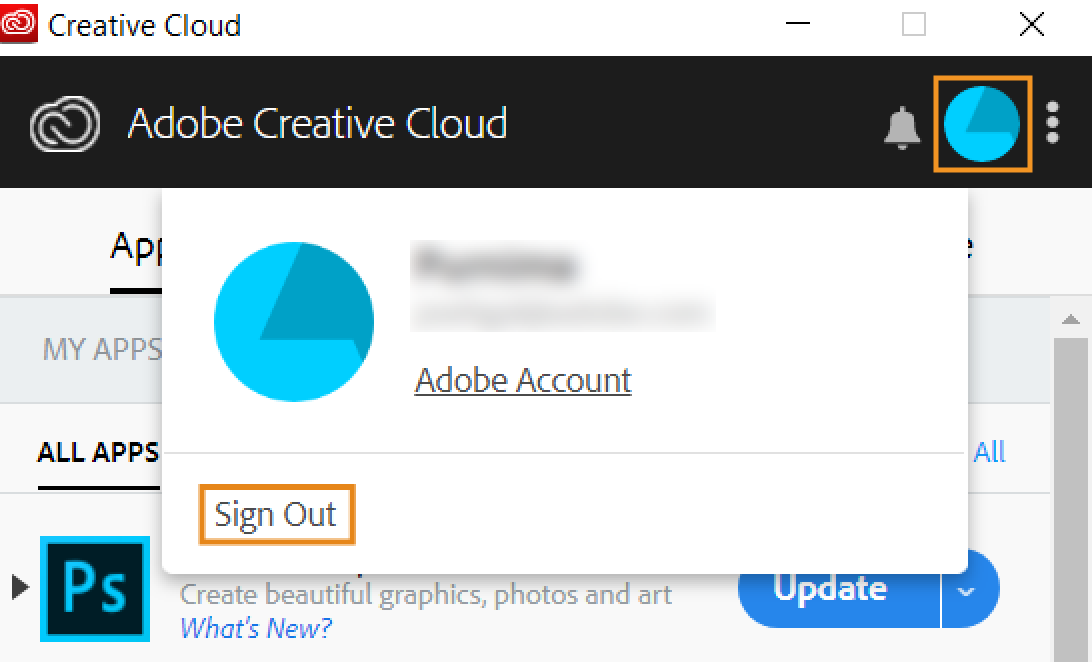 Sign out from Creative Cloud desktop app (Old version)