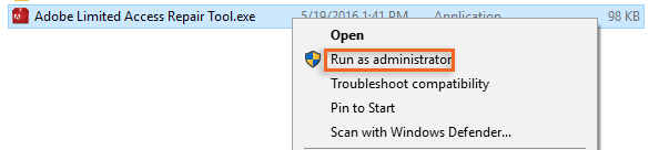 Run the Limited Access Repair tool as admin