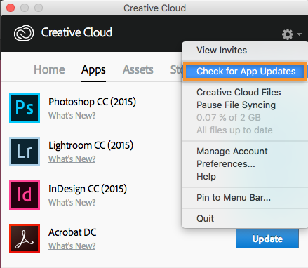 Check for Creative Cloud app updates
