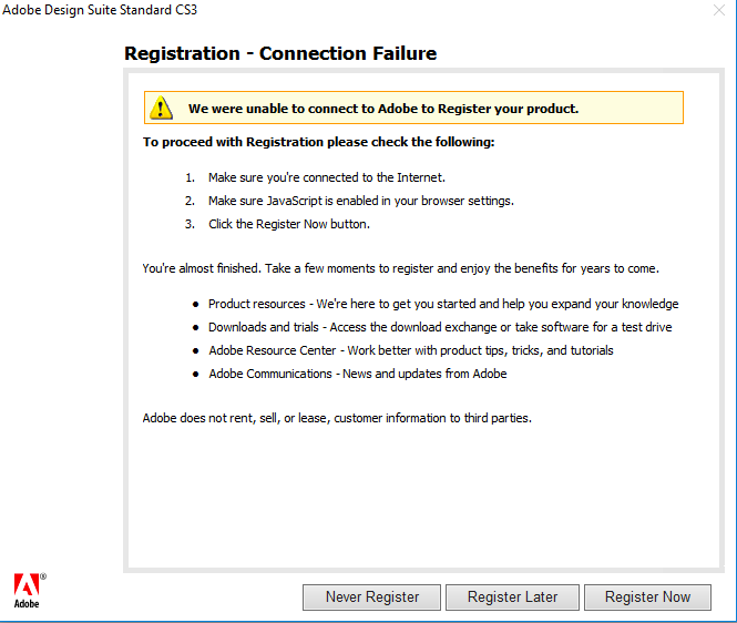 Registration - Connection failure