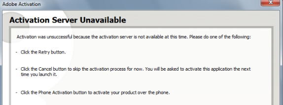 Activation server unavailable