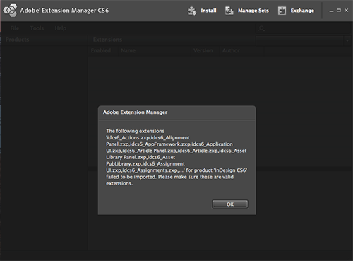 Adobe Extension Manager CS6