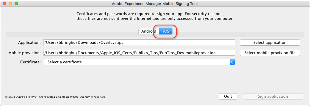 Signing iOS and Android apps for AEM Mobile
