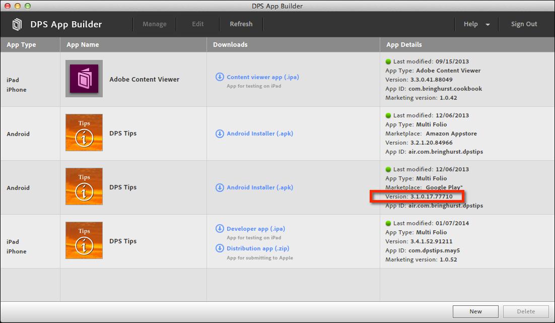 Setting version numbers in Web DPS App Builder