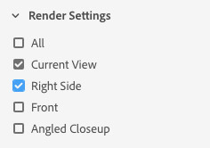 Render settings in Dimension CC