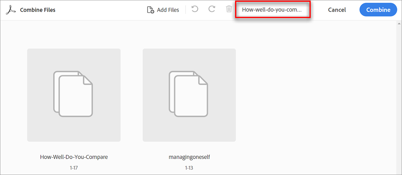 Specify a name for the file and combine the added files