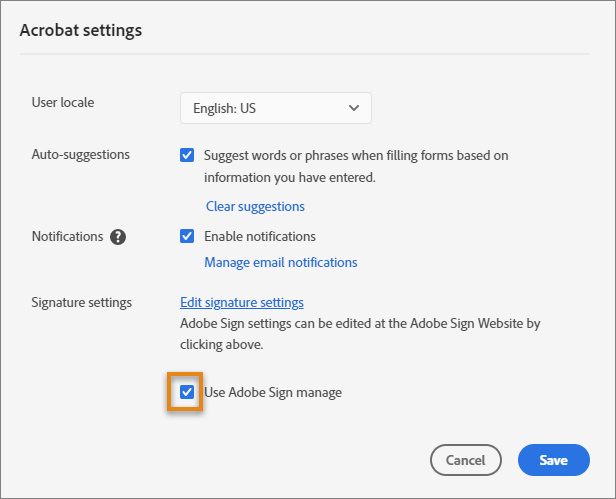 Select the Use Adobe Sign manage option
