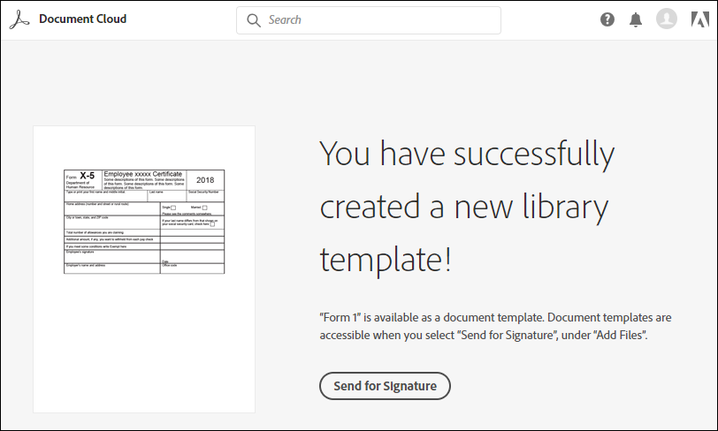Confirmation message on successful template creation