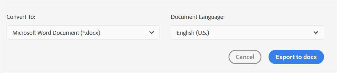 Select the file format and the document language