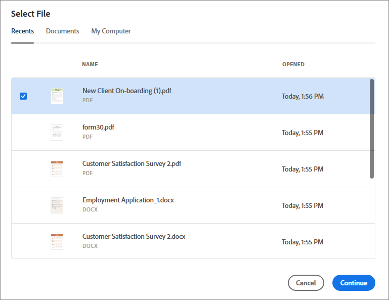 Select a file from the Recents or Documents list